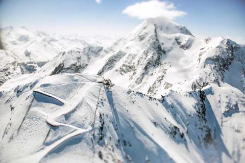 Aerial view of the slopes at Les Arcs