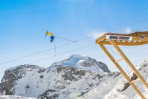 man on a Bun - J Ride' - a combination of ski jump, a bungee jump and a zip-line.