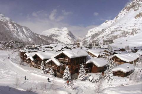 Val d'Isere village in the snow