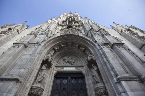 View looking up at the facade of Saint Maurice church