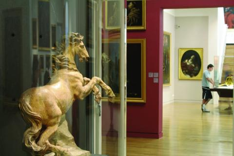 Interior view of the Granet Museum showing a prancing horse sculpture