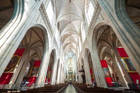 Interior view of the stunning Cathedral of our Lady in Antwerp