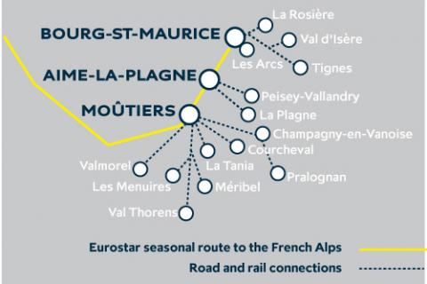 map showing the Eurostar stations and the resorts served by them