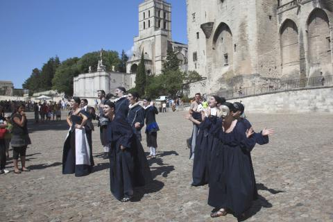 Group of actors in costume during the Avignon festival