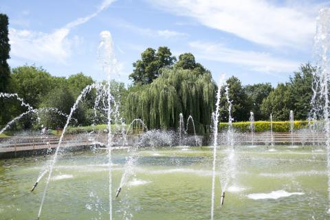 Water features at Battersea park in summer time
