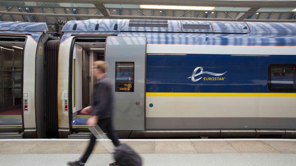 A Eurostar Train at a station