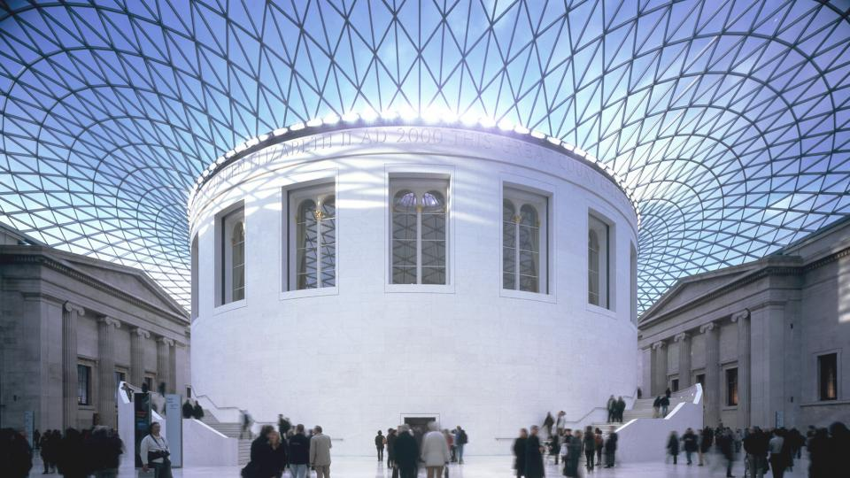 The Grand Court and its dramatic glass roof at the British Museum