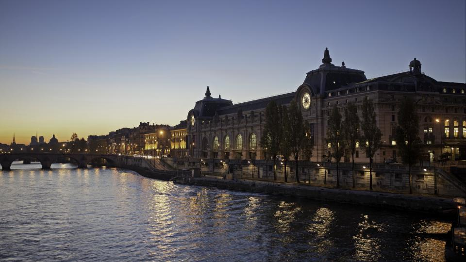 View of the Musee d'Orsay early in the morning from the other side of the river