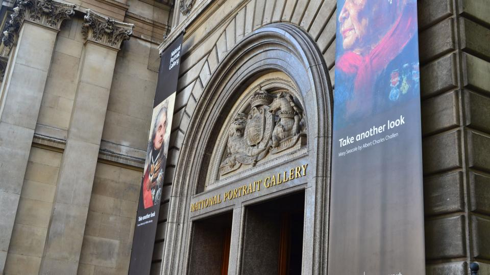 View of the entrance of the National Portrait Gallery in London