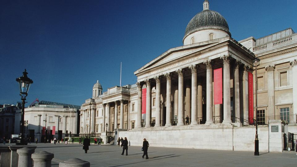 View of the national Gallery from Trafalgar square